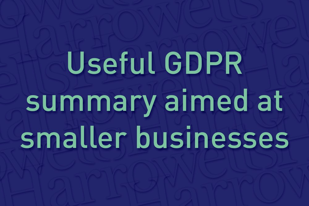 Useful GDPR summary aimed at smaller businesses